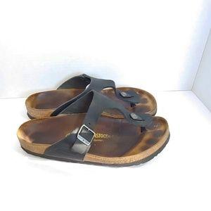Birkenstock black leather Gizah sandals